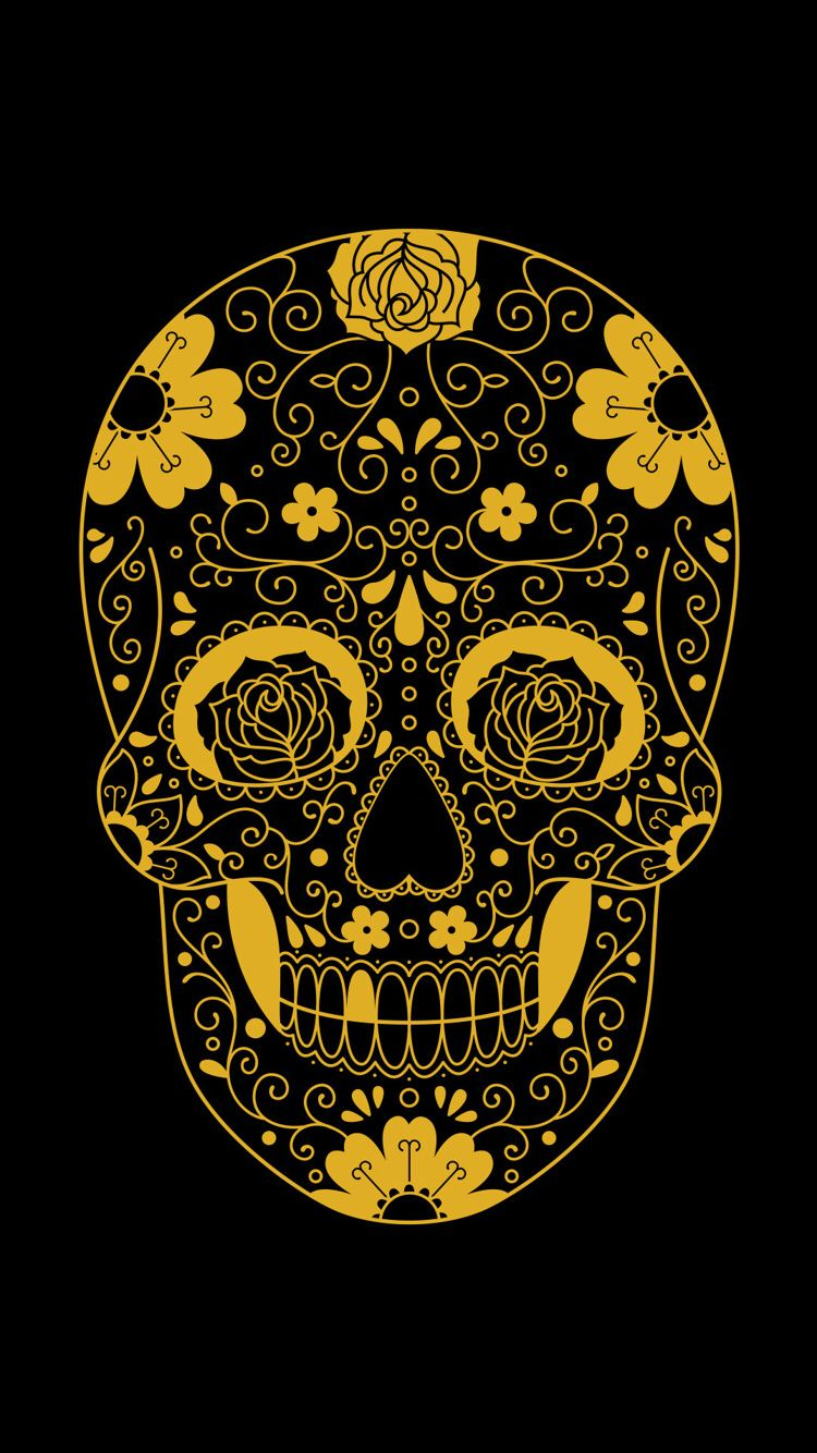 Gold Skull Skull Wallpaper Skull Wallpaper Iphone Sugar Skull