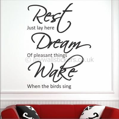Rest dream wake home wall art sticker quotes by my wall stickers order your wall stickers online for fast delivery