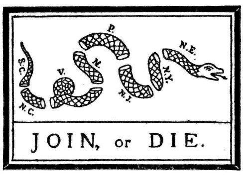 JOIN OR DIE SNAKE REVOLUTIONARY WAR 1776 GADSEN FLAG US HISTORY CANVAS PRINT NEW