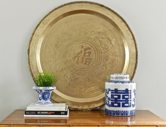 Prime Large Vintage Brass Tray Wall Hanging 30 Inch Ottoman Tray Alphanode Cool Chair Designs And Ideas Alphanodeonline
