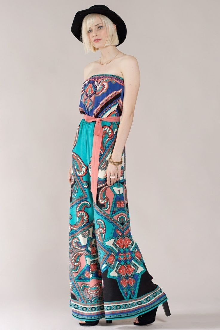 8888e10c616 Flying Tomato Vintage Boho Paisley Strapless Wide Leg Jumpsuit Belted 70 s  Chic