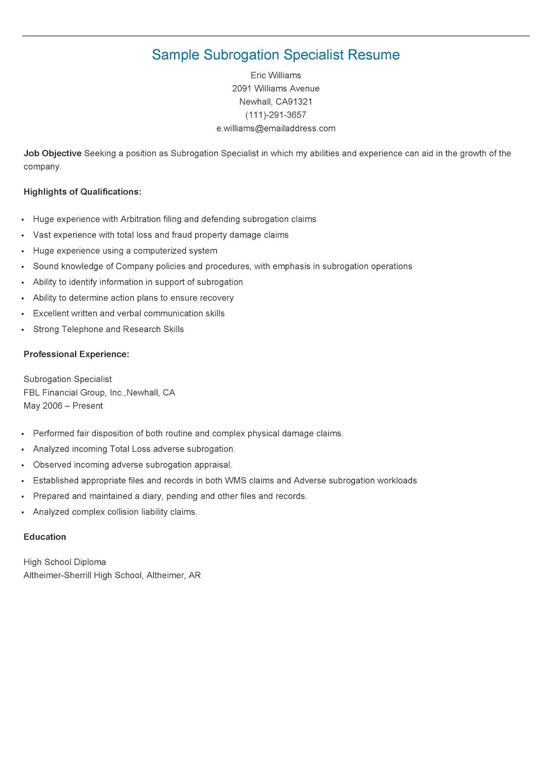High Quality Sample Subrogation Specialist Resume