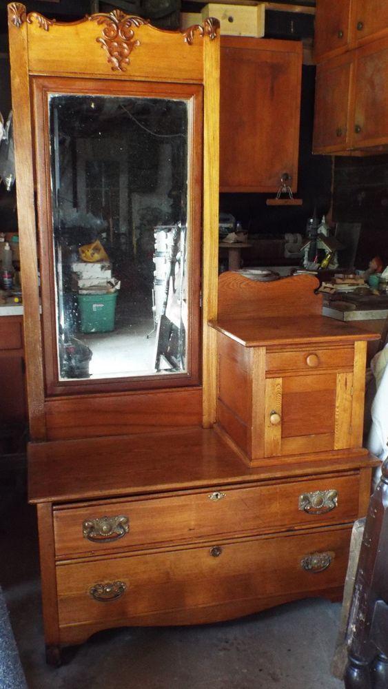Antique Gentleman S Dresser W Original Beveled Mirror