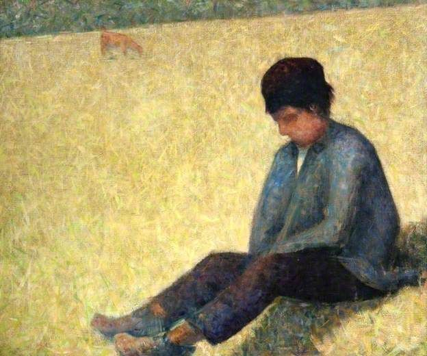 Boy Sitting in a Meadow by Georges Seurat