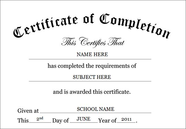 CertificateOfCompletionTemplate  Homeschool Helps