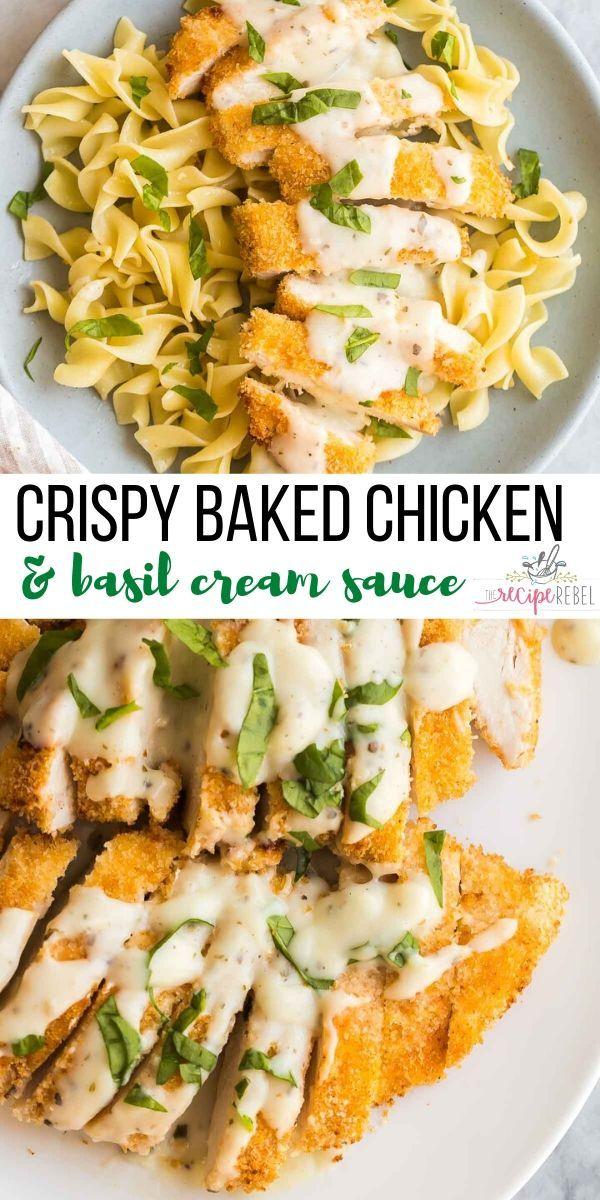Crispy Chicken & Basil Cream Sauce