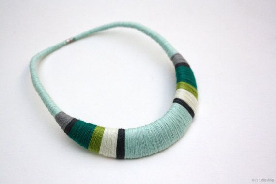 Statement necklace, mint necklace, turquoise necklace, crochet necklace, african necklace