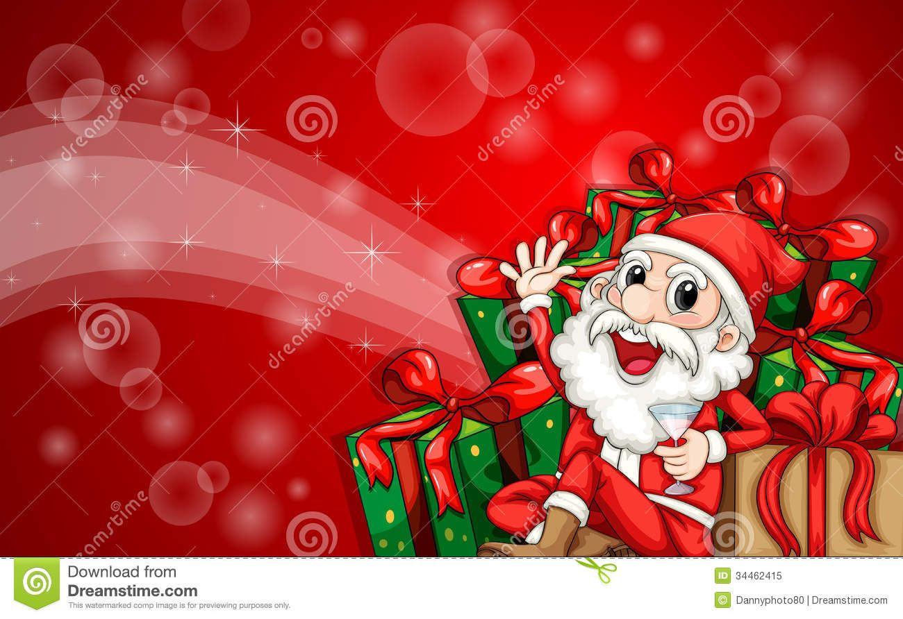 A Sparkling Christmas Card Template With Santa Claus