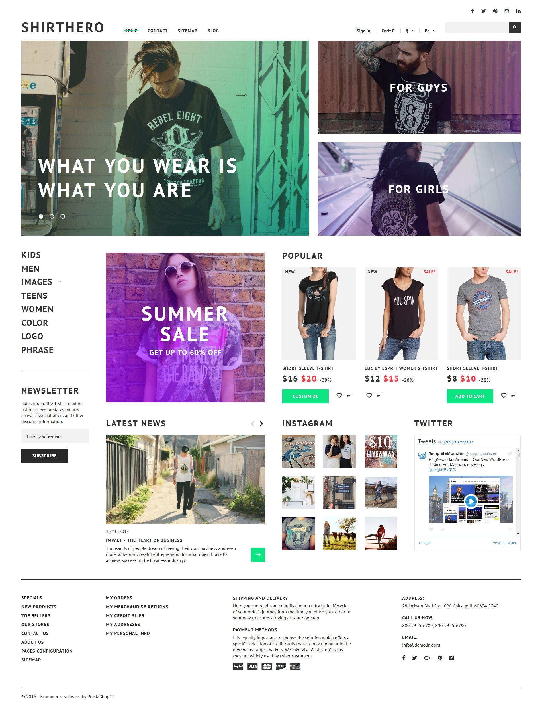 ShirtHero Responsive PrestaShop Theme Httpwww - T shirt printing website template