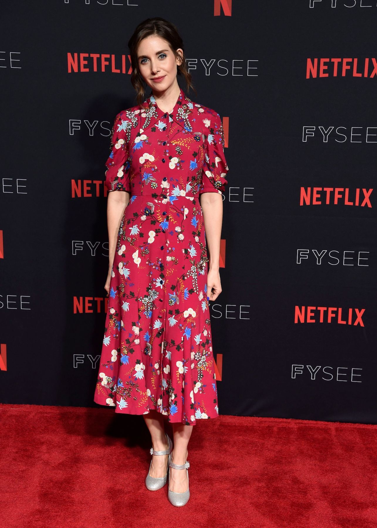 Alison Brie In Erdem Netflixfysee For Your Consideration Event Glow Red Carpet Fashion Alison Brie Celebrity Red Carpet