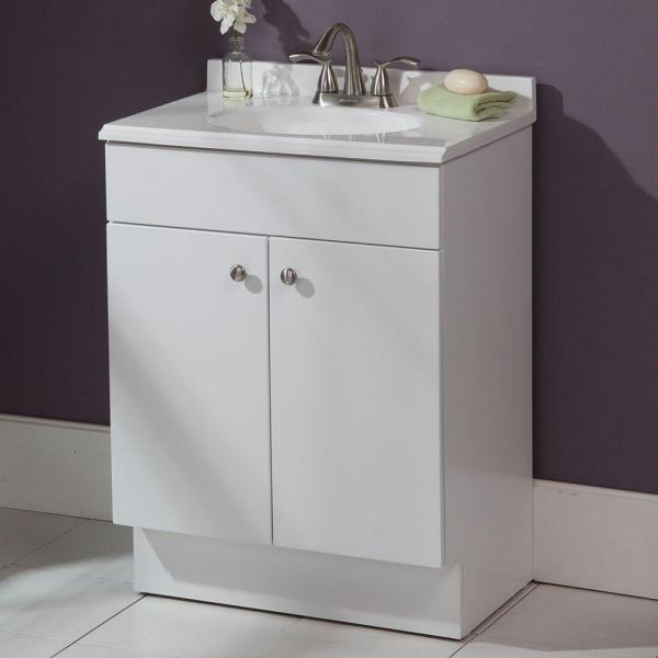 Glacier Bay Nevada 24 In W X 35 In H X 17 In D Bath Vanity In White With Vanity Top In White Ne2416p2 F The In 2020 Bath Vanities Vanity Top Bathroom Vanity Tops