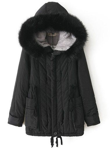 8d95e95f88c Winter Draw-String Zipper Fly Fur Hooded Button Sleeve Black Warm Parka Coat  Outdoor Clothing on buytrends.com