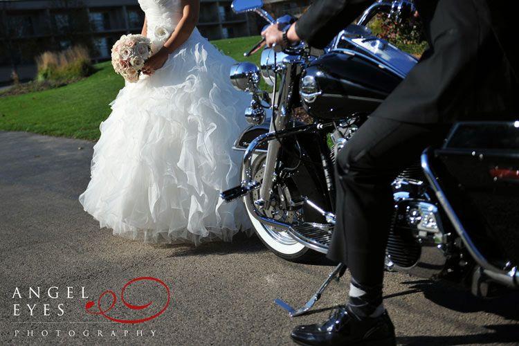eaglewood resort spa itasca illinois wedding fun harley davidson bride and groom