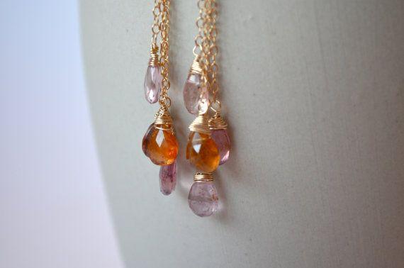 Tourmaline Earrings Pink Orange Rose Gems 14k Gold by Gewgaws & Gimcracks on Etsy, $85.00