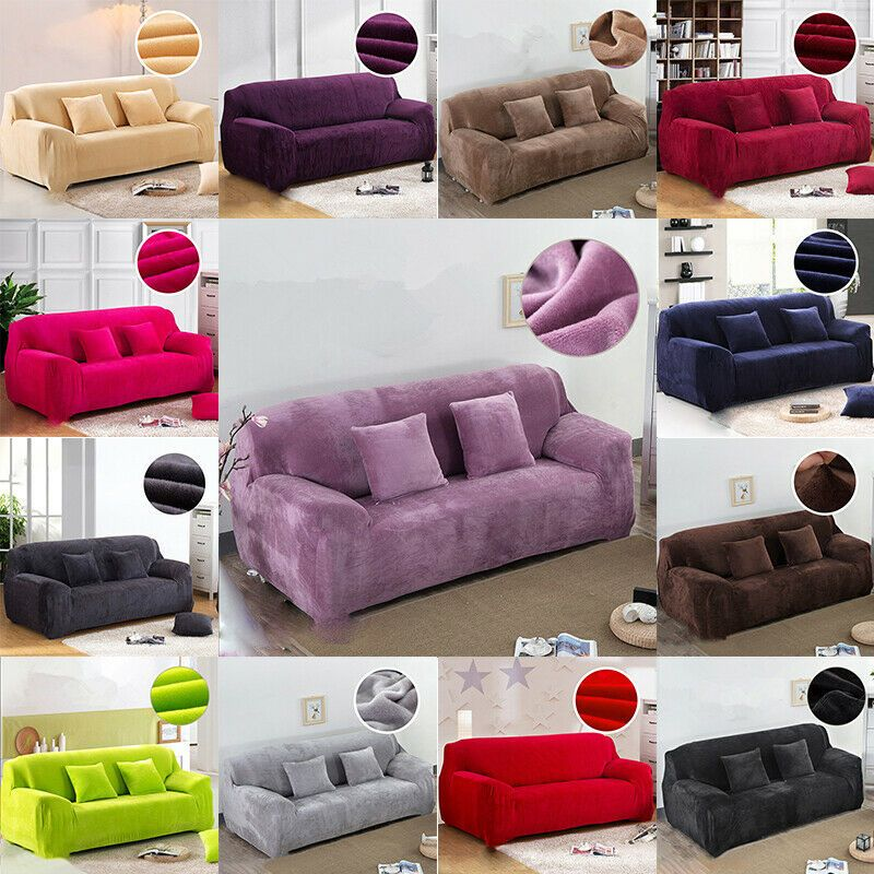 1 2 3 4 Seater Thick Plush Stretch Sofa Covers Protector Couch Cover Slipcover Sofa Slipcover In 2020 Slipcovered Sofa Couch Covers Slipcovers Sofa Covers
