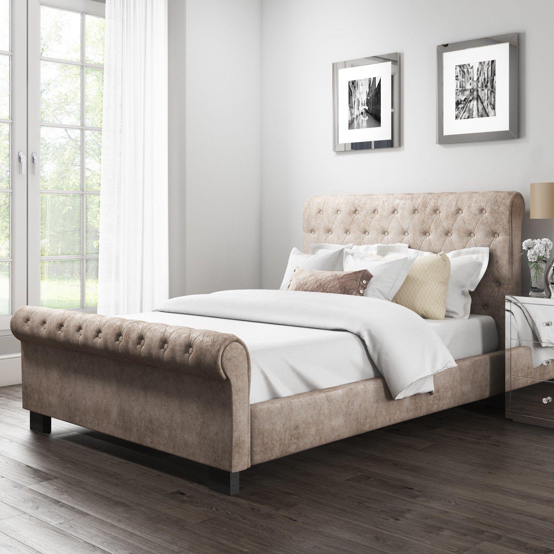 Safina Roll Top Kingsize Sleigh Bed In Beige Velvet Saf010 Bed