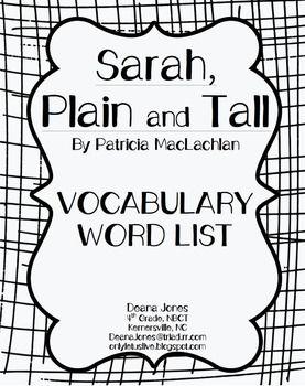 Sarah, Plain and Tall Vocabulary Word List