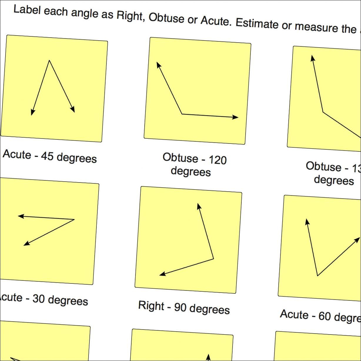 Geometry worksheets label angles as right obtuse or acute label angles as right obtuse or acute optionally estimate or use a protractor to measure the actual angles nvjuhfo Images