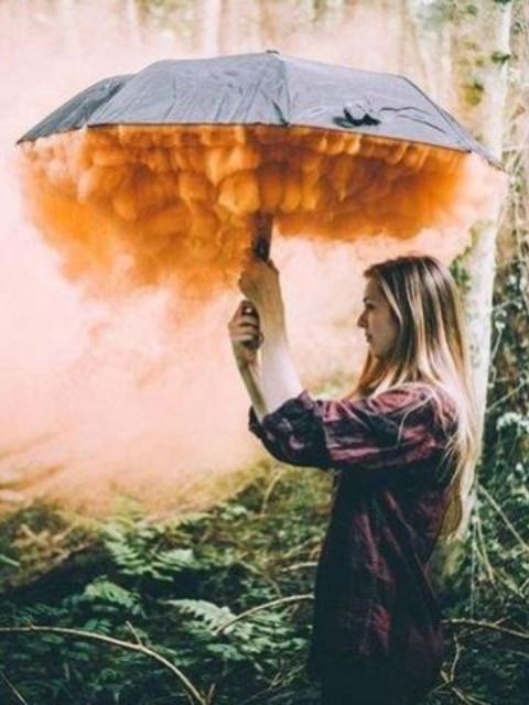 Photography with Smoke Bombs and Umbrellas