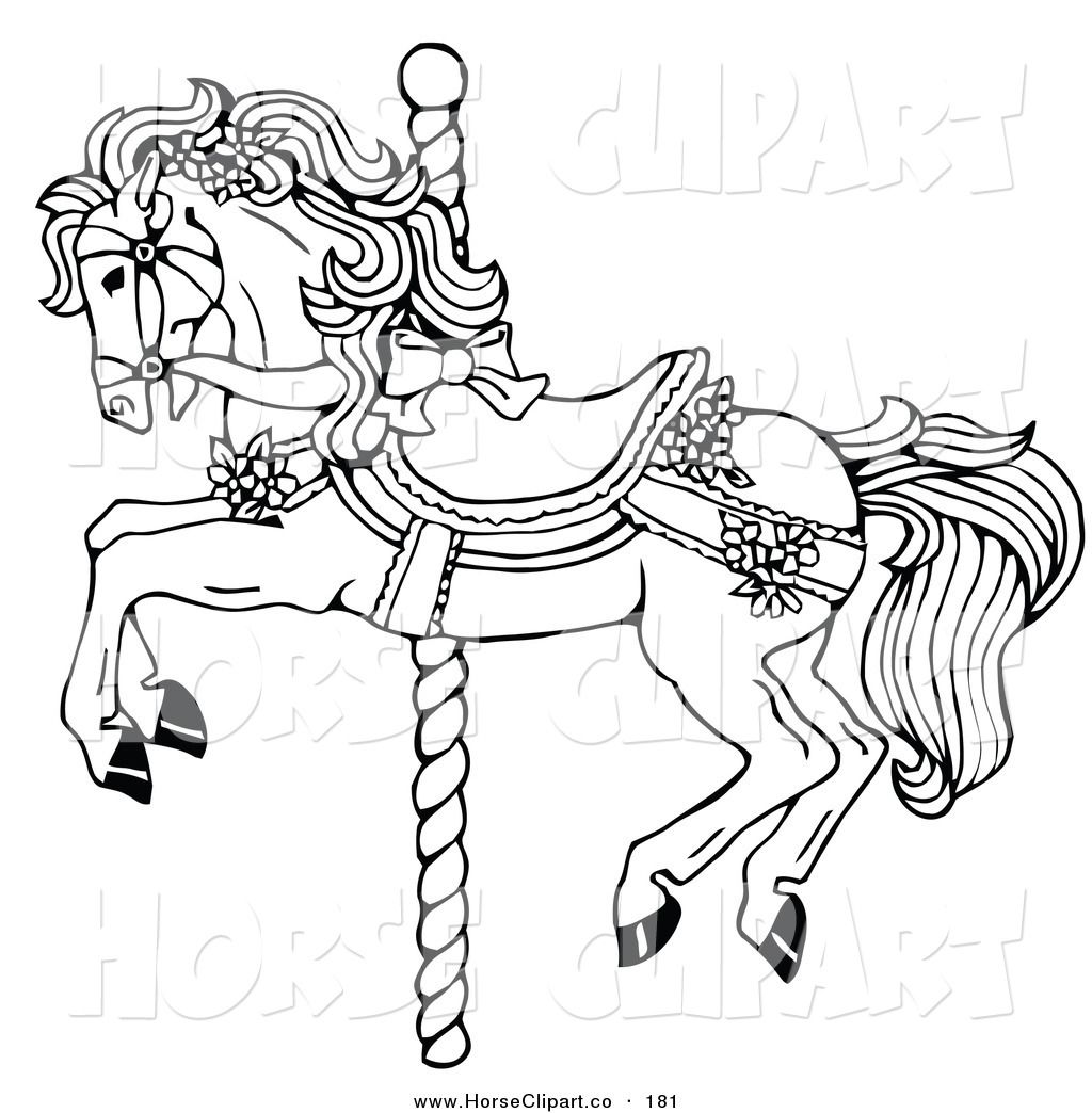 Carousel Horse Clip Art Clip Art Of A Coloring Page Of A Carousel Horse Decorated In Bows And Horse Coloring Pages Animal Coloring Pages Horse Coloring