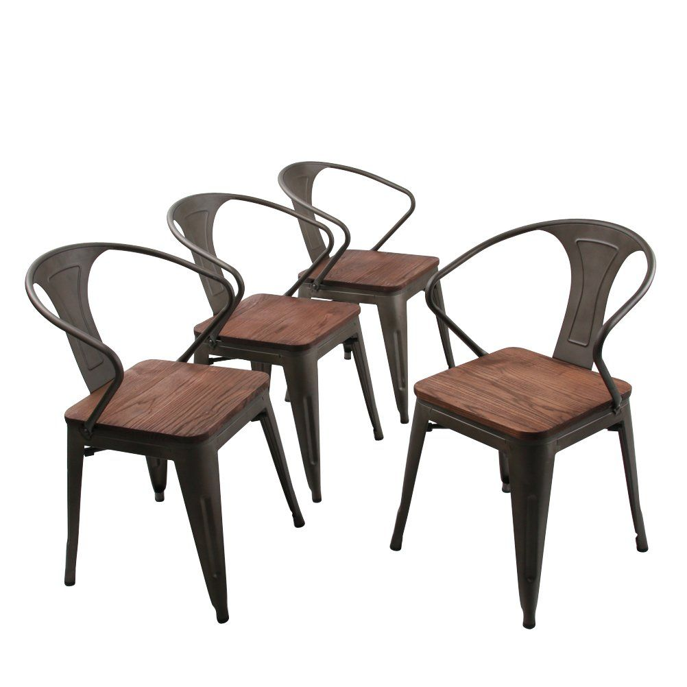 Andeworld Set Of 2 Upholstered Dining Chairs High Back Padded Kitchen With Wood Legs