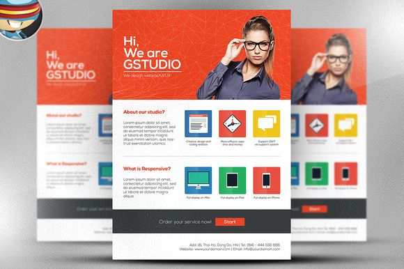 Flat Style Web Design Studio Flyer by FlyerHeroes on Creative - studio brochure