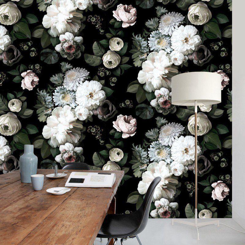 Dark Floral Wallpaper Black floral wallpaper, Flower
