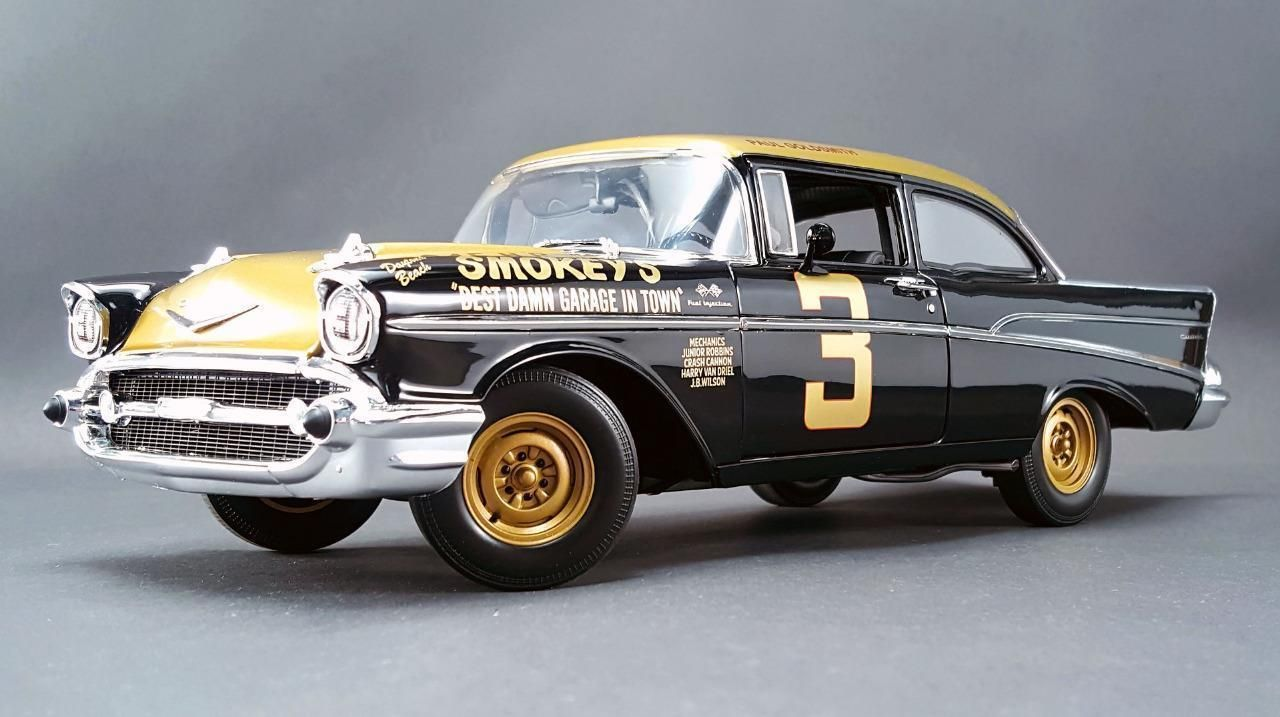 1 18 gmp acme 1957 chevy bel air smokey yunick s diecast stock car 3 ebay