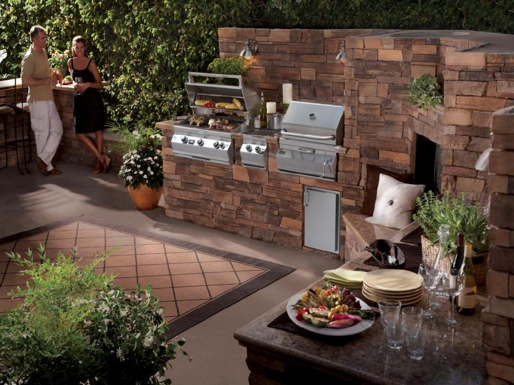 Backyard bbq ideas for small area first call rock for Outdoor kitchen wall ideas