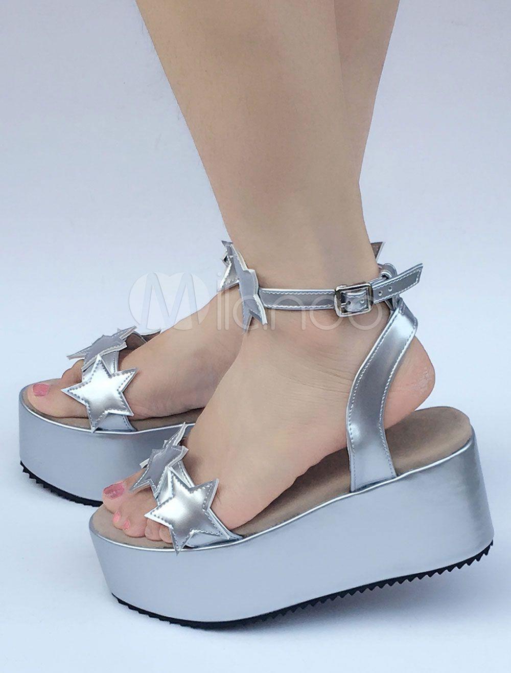 6b8eec02e0c2 Sweet Lolita Shoes Silver Stars Platform Wedge Lolita Sandals  Shoes ...