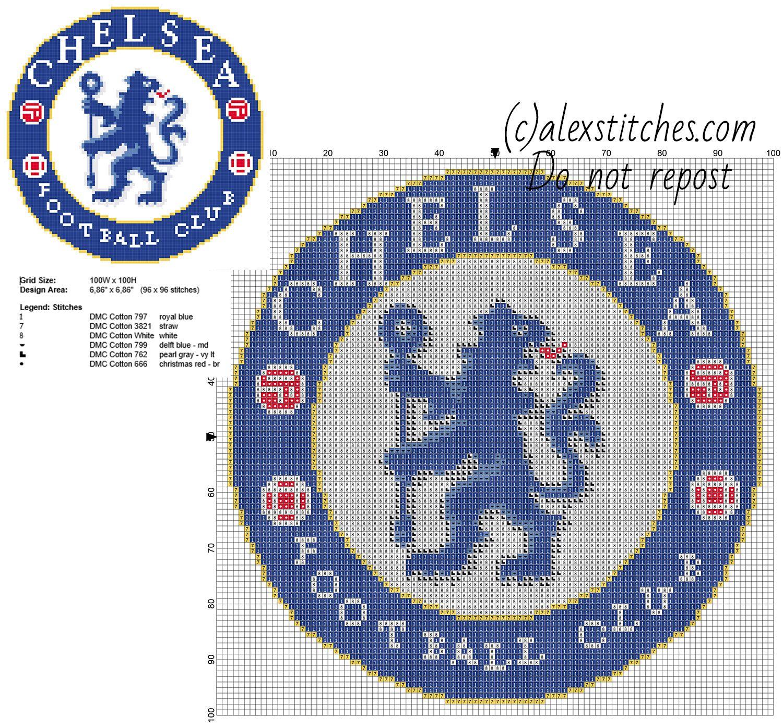 Chelsea Fc Soccer Team Badge Logo Free Cross Stitch