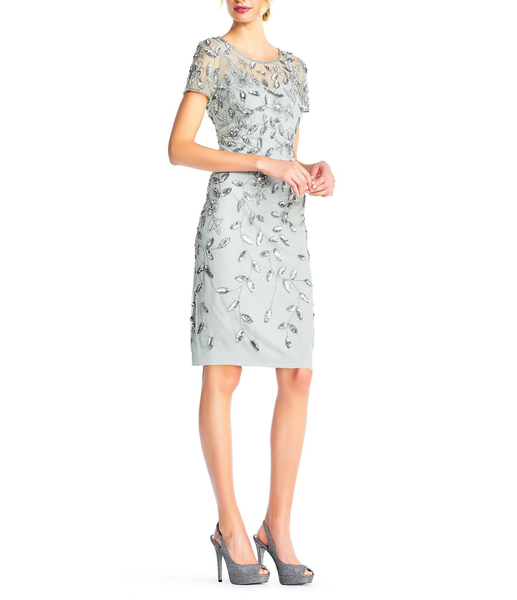Adrianna Papell Sequin Floral Beaded Short Dress Dillards Metallic Cocktail Dresses Short Dresses Mother Of The Bride Dresses