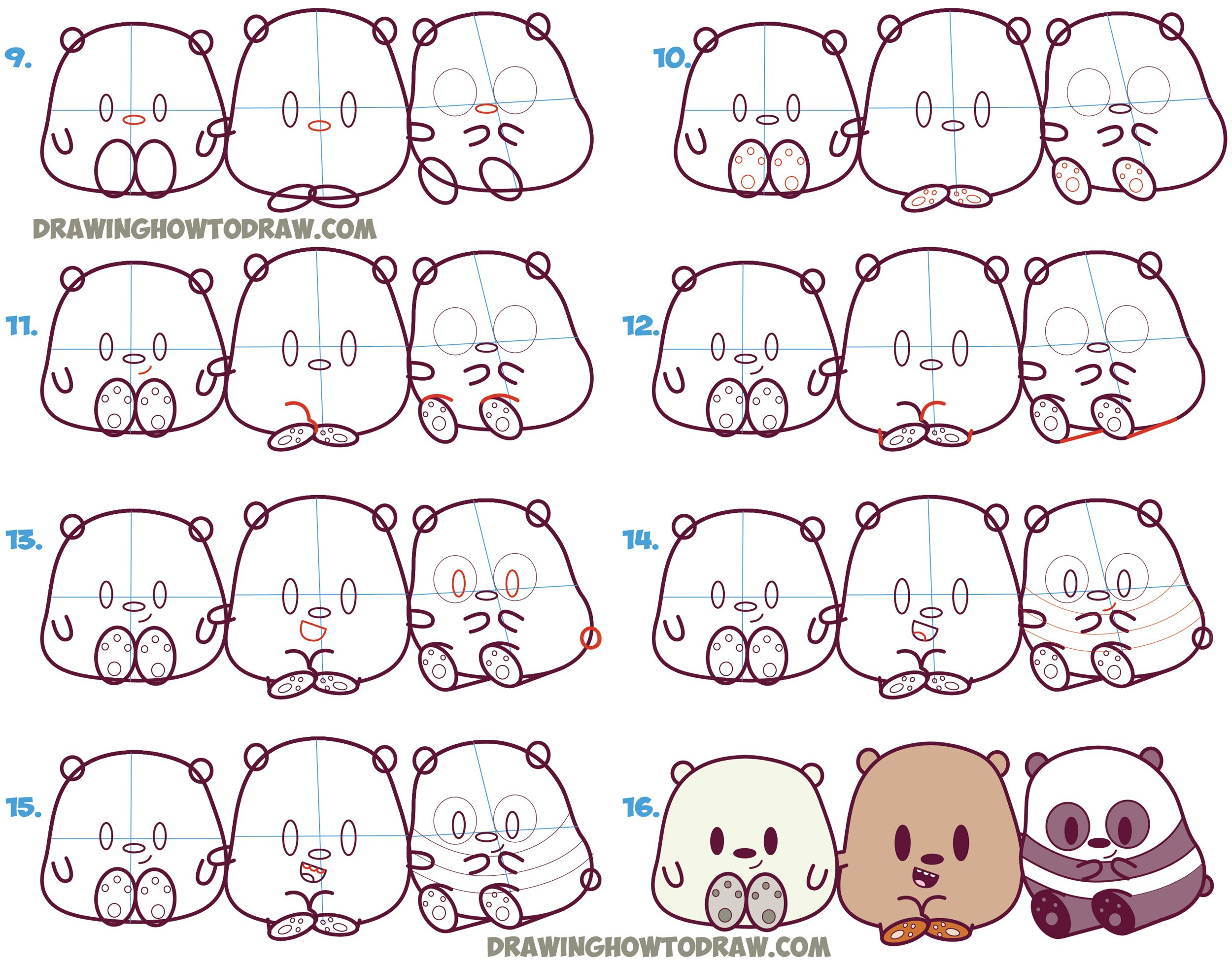How To Draw We Bare Bears Cute Kawaii Chibi Baby Style