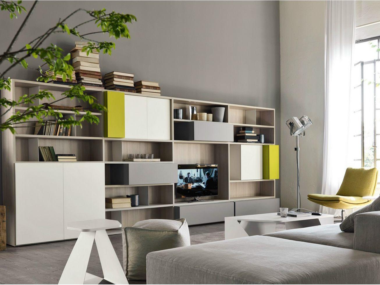 Mueble modular de pared composable con soporte para tv CITYLIFE 16 ...
