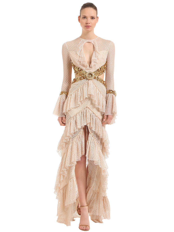 Ruffled Cotton Knit Dress W/ Sequins, Beige | elbise | Pinterest