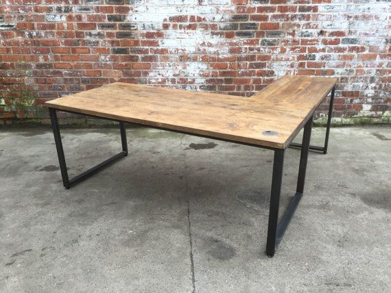 L Shaped Desk Industrial Style With Reclaimed By 101furniture With Images Reclaimed Wood Desk Industrial Style Furniture Industrial Style Desk