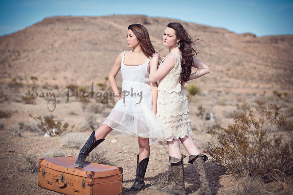 Desert Diva shoot in Las Vegas with  soft romantic dresses, awesome boots and an old trunk