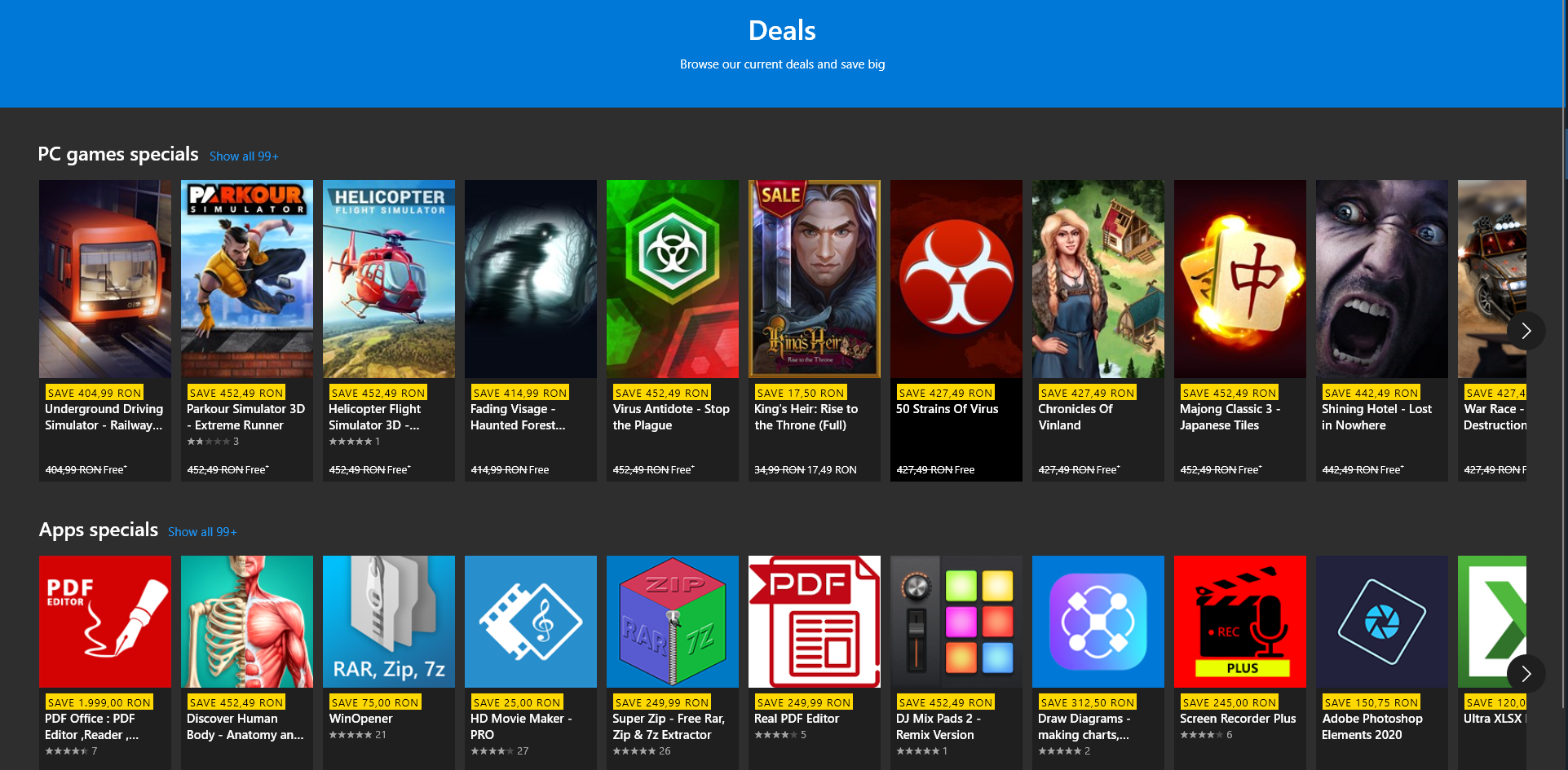 MEGA DEALS 100 FREE apps for Windows 10 on MICROSOFT STORE