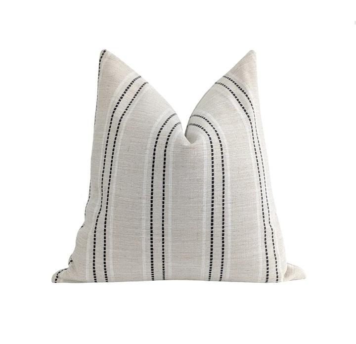 York Textured Stripe Pillow in Black White & Natural