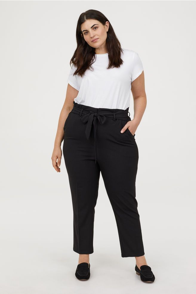 H M Paper Bag Pants Black Ladies H M Us 1 Office Wear Women Work Outfits Plus Size Interview Outfits Office Casual Outfit