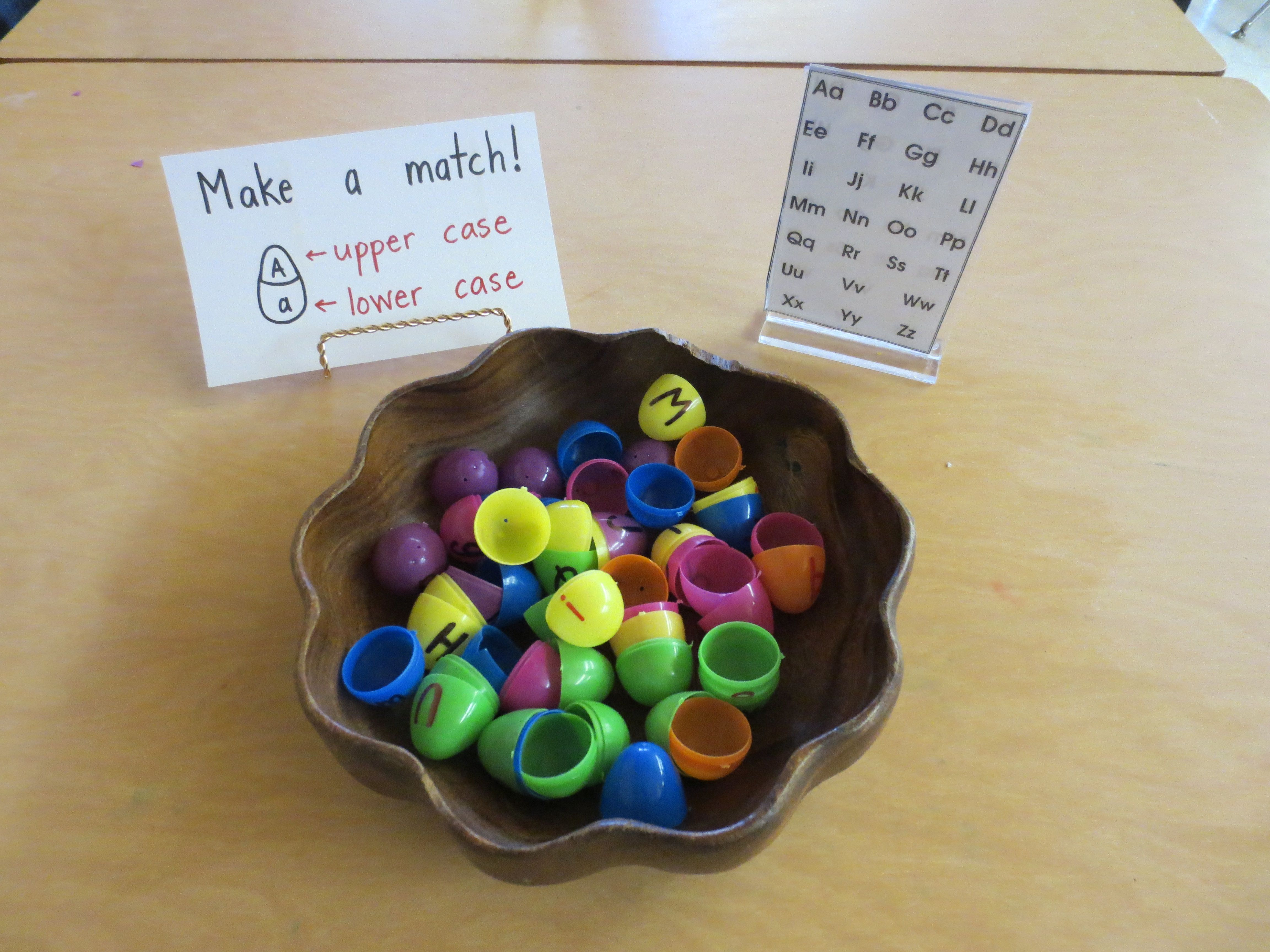 Easter Eggs With Upper And Lower Case Letters Printed On