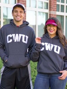 Our best selling CWU sweatshirt has been marked down over 30% until Wednesday evening, so grab yours while you still can! Basic Hood Graphite CWU/White. Our top selling unisex sweatshirt design. Graphite hoodie with white CWU embroidered. 50% Cotton 50% Polyester. From Champion. Sale price $29.95 until Wednesday August 3rd at midnight!
