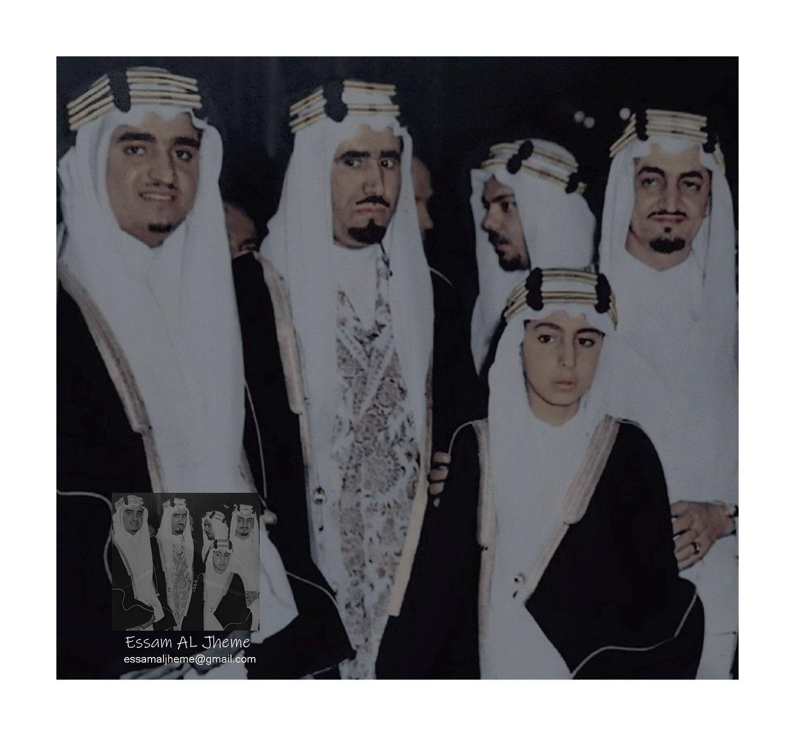 الملك فيصل بن عبدالعزيز ال سعود الامير محمد بن عبدالعزيز ال سعود الملك فهد بن عبدالعزيز ال سعود والامير نواف بن عبدالعزيز ال سعود Saudi Arabia Culture King Salman Saudi