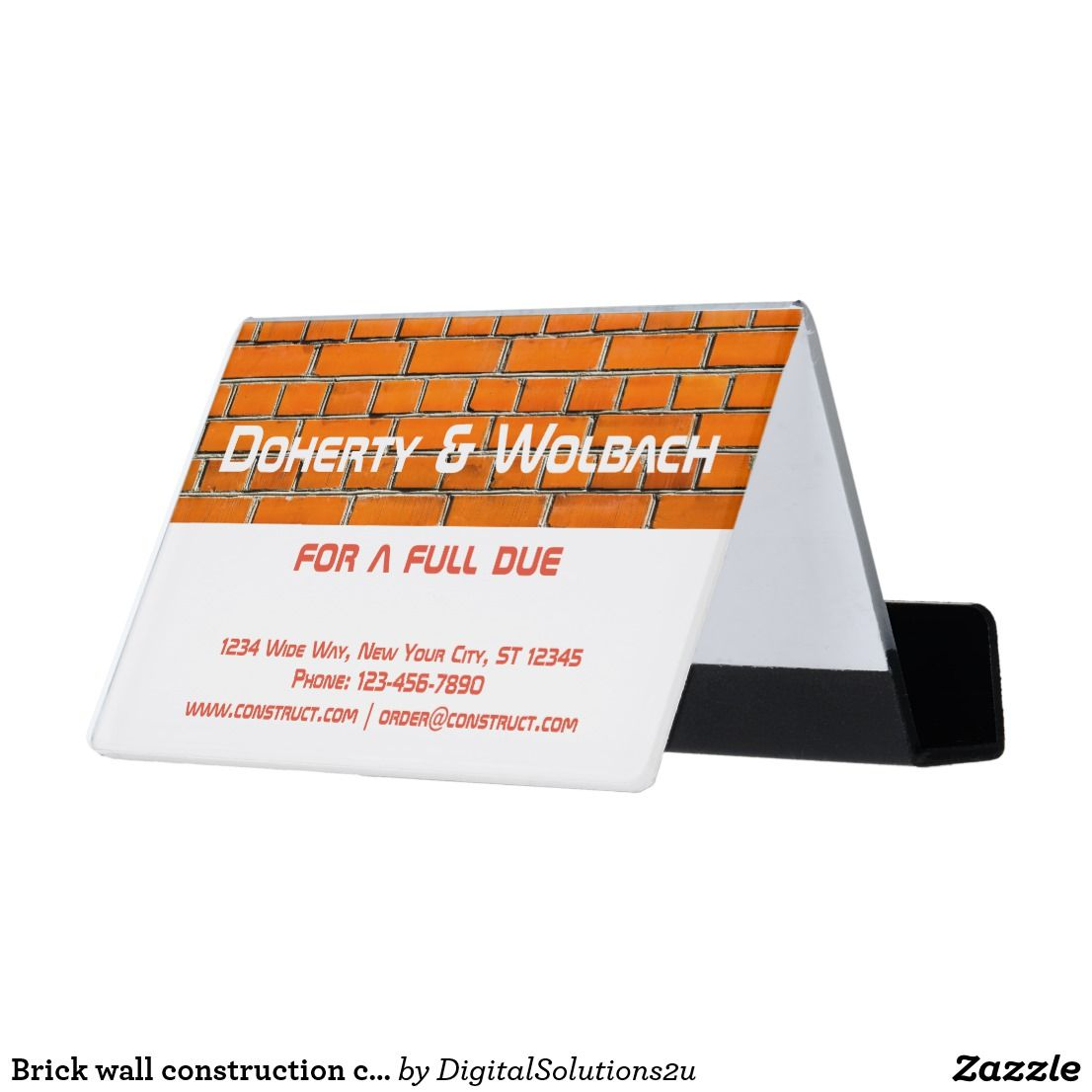 Brick wall construction customizable desk business card holder shop brick wall construction customizable desk business card holder created by personalize it with photos text or purchase as is reheart Choice Image