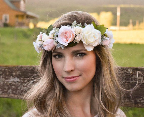 Blush flower crown Blush pink and ivory flower crown with greenery Wedding floral  crown Pink floral 24419603824
