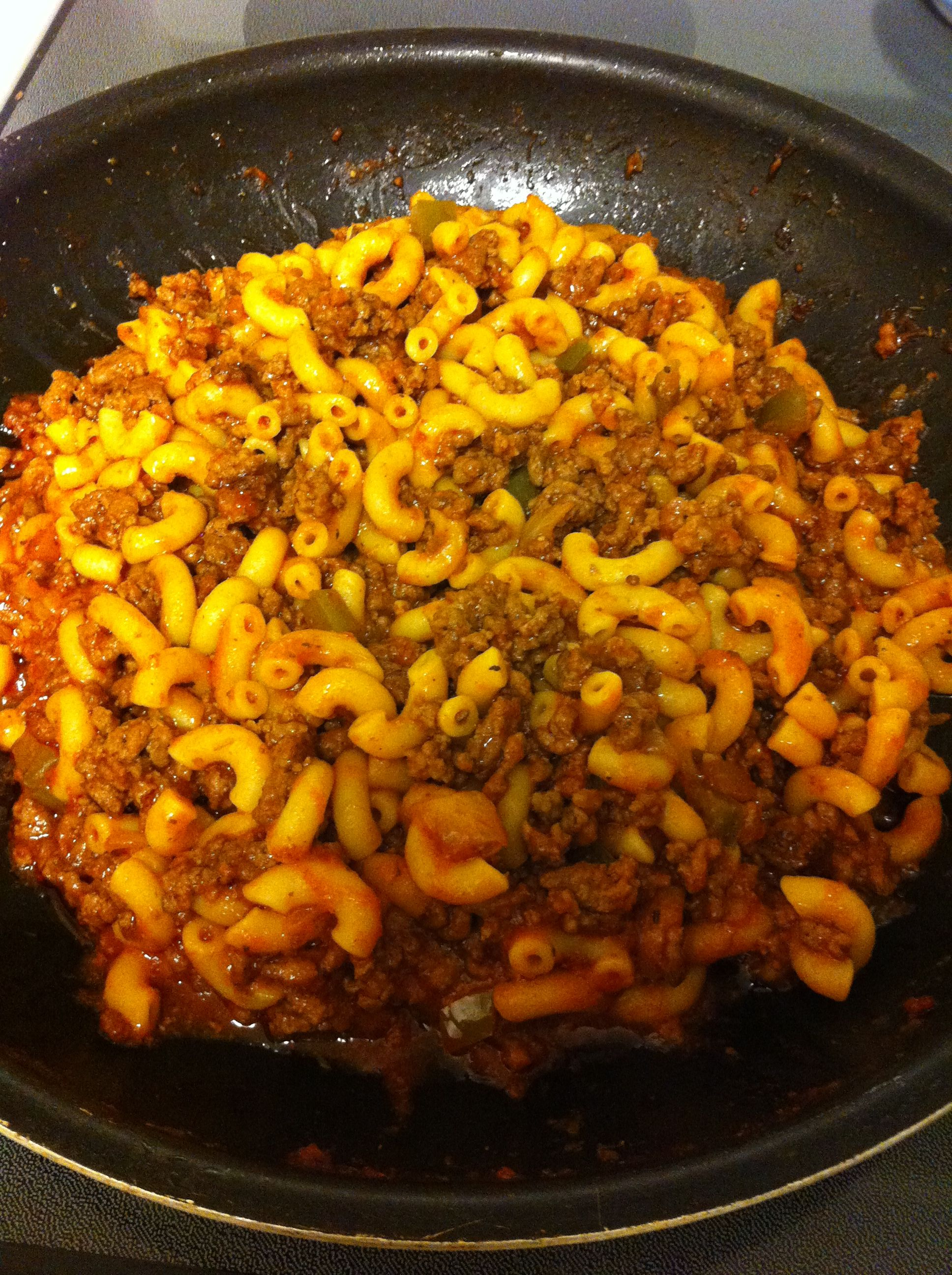 My Goulash Recipe 1 Lb Ground Beef 1 4 Cup Chopped Onion 1 4 Cup Green Pepper More Or Less Spending On Main Dish Recipes Beef Dinner Beef Recipes