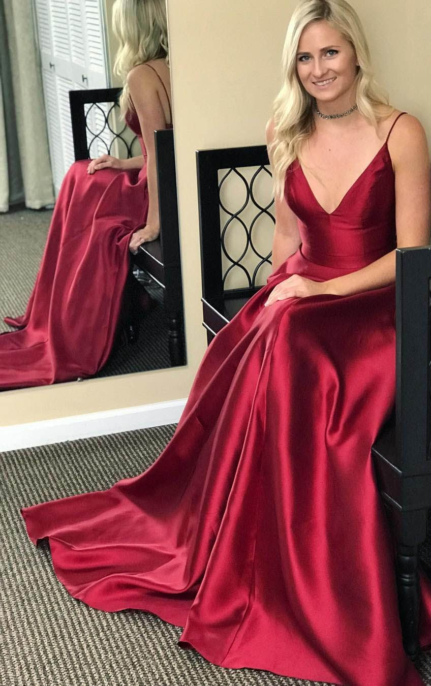 Spaghetti strap burgundy prom dresses with pocket vneck evening