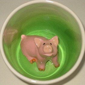 Oh hai! Pig Surprise Mug by SpademanPottery on Etsy, $25.00