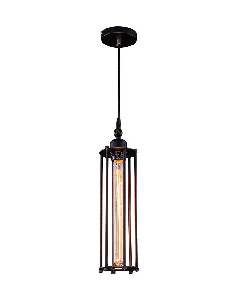 industrial style pendant lighting. Industrial Style Pendant Light With Black Slender Column Cage Shade - ParrotUncle Lighting