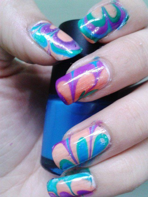 Easy Water Marble Nail Art Technique | Marble nail art, Water marble ...